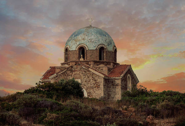 Photograph - Small Church In Sunion by Jaroslaw Blaminsky