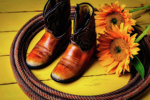 Wall Art - Photograph - Small Cowboy Boots And Sunflowers by Garry Gay