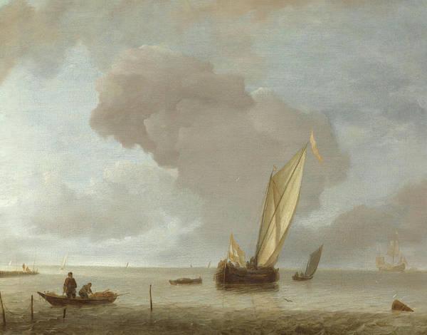 Ocean Scape Painting - Small Dutch Vessel Before A Light Breeze  by Jan van de Cappelle