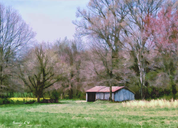 Digital Art - Small Farm Building by Bonnie Willis