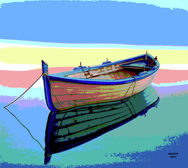 Wall Art - Mixed Media - Small Fishing Boat by Charles Shoup