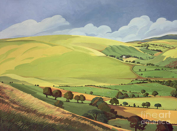Hills Wall Art - Painting - Small Green Valley by Anna Teasdale