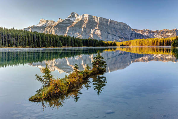 Photograph - Small Island At Two Jack Lake by Pierre Leclerc Photography