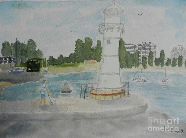 Wall Art - Painting - Small Lighthouse One Belmore Basin by Pamela Meredith