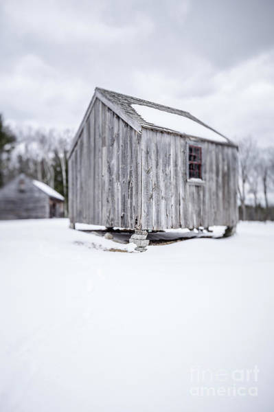 Wall Art - Photograph - Small Old Wooden Barn On A Farm In Winter by Edward Fielding