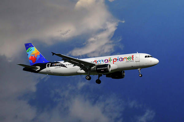 Small Wall Art - Photograph - Small Planet Airbus A320-214 by Smart Aviation