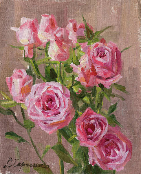 Wall Art - Painting - Small Roses by Victoria Kharchenko
