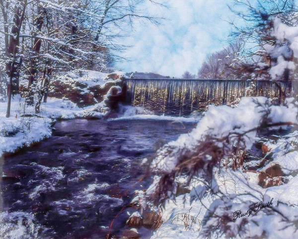 Digital Art - Small Stream, Snowy Scene And Waterfalls. by Rusty R Smith