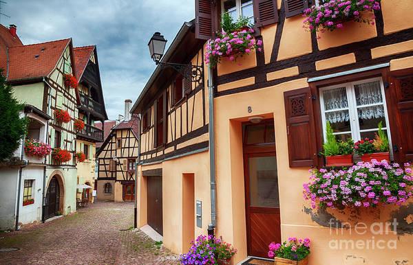 Photograph - small street in village Eguisheim by Ariadna De Raadt