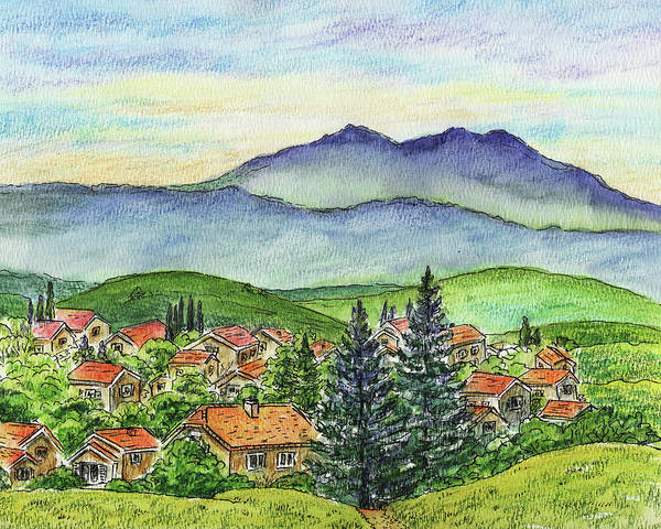 Painting - Small Town Mountains And Hills by Irina Sztukowski