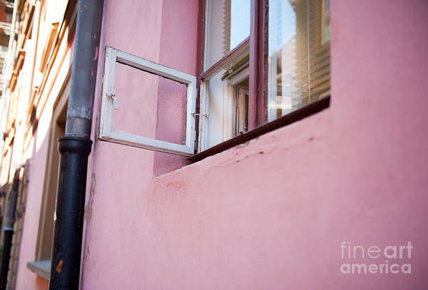 Wall Art - Photograph - small ventilation window and pink wall in Warsaw  by Arletta Cwalina