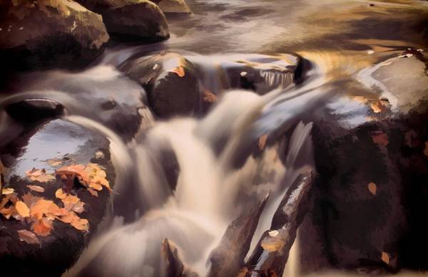 Change Mixed Media - Small Waterfall In Autumn by Dan Sproul