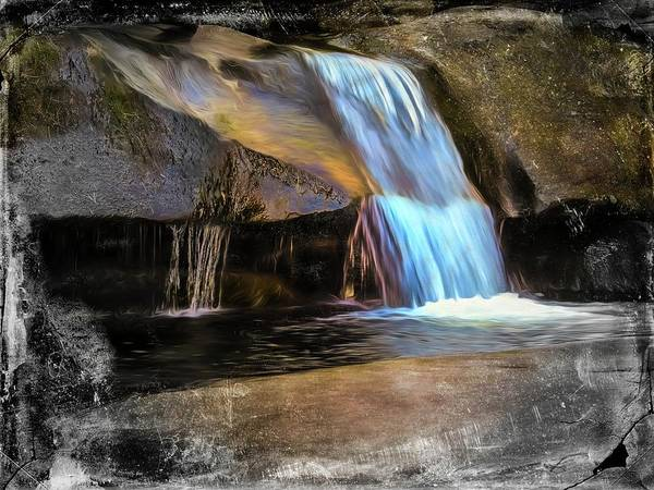 Digital Art - Small Waterfall,large Boulders by Rusty R Smith