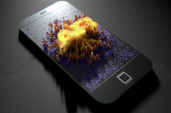 Reflective Digital Art - Smart Phone Emanating Augmented Reality by Allan Swart