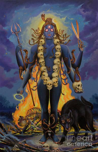 Wall Art - Painting - Smashan Bhairava Shiva by Vrindavan Das