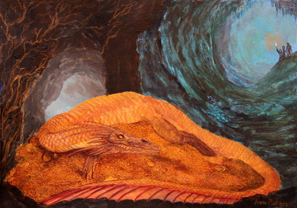 Smaug Painting - Smaug The Golden Dragon by Harm  Plat