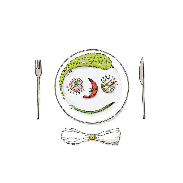 Plate Drawing - Smiley Face Created With Food On Plate by David M Galletly