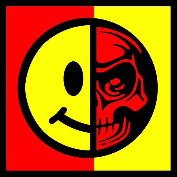 Painting - Smiley Face Skull Yellow Red Border by Tony Rubino
