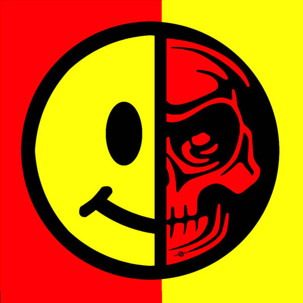 Painting - Smiley Face Skull Yellow Red by Tony Rubino
