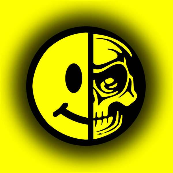 Painting - Smiley Face Skull Yellow Shadow by Tony Rubino