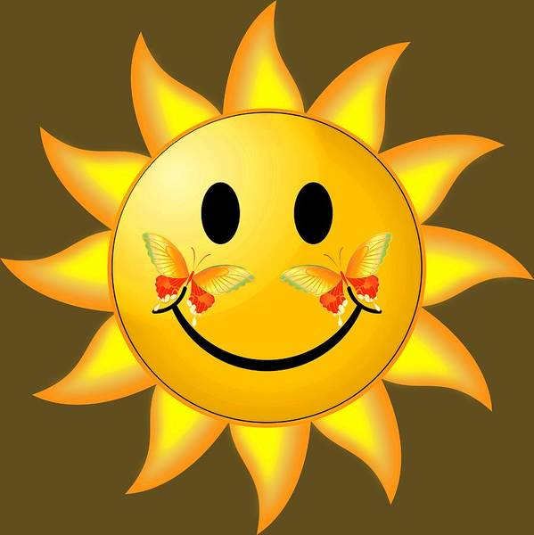 Digital Art - Smiley Face Sun by Robert G Kernodle