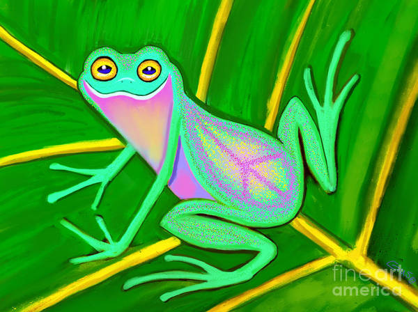 Wall Art - Painting - Smiley Peace Frog by Nick Gustafson
