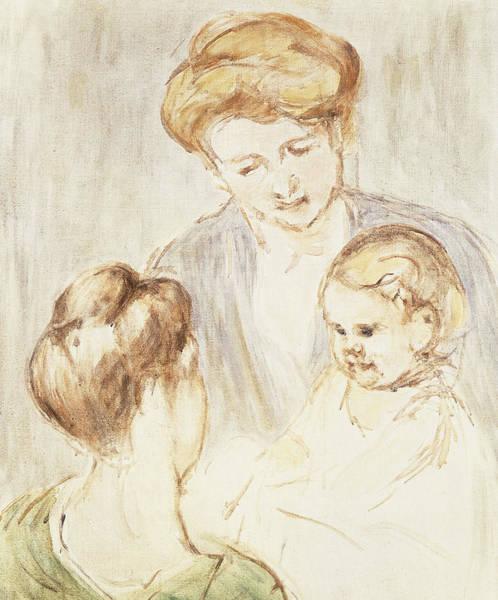 Cassatt Painting - Smiling Baby With Two Girls by Mary Stevenson Cassatt