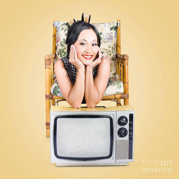 Wall Art - Photograph - Smiling Beautiful Woman At Rest On Old Television by Jorgo Photography - Wall Art Gallery