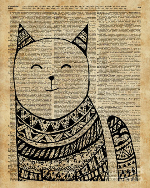 Wall Art - Mixed Media - Smiling Cat Pen And Ink Zentagle Dictionary Art by Anna W