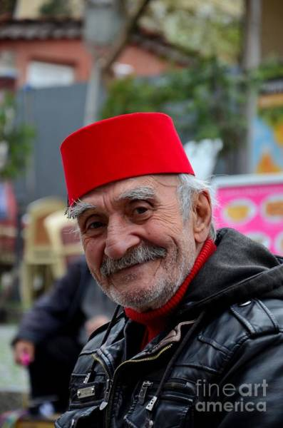 Photograph - Smiling Happy Old Turkish Senior Man In Fez And Leather Jacket by Imran Ahmed