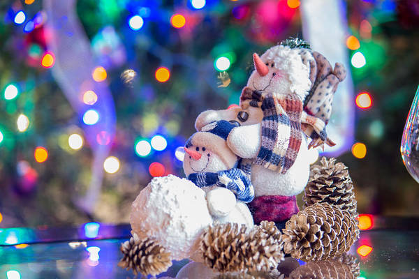 Christmass Photograph - Smiling Merry Christmas Snowman With Christmas Lights by Alex Grichenko