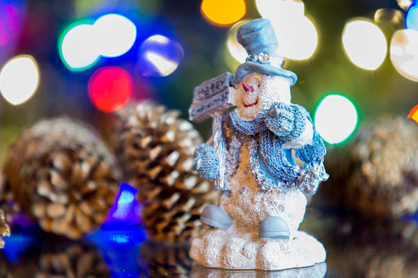 Christmass Photograph - Smilingmerry Christmas Snowman With Christmas Lights by Alex Grichenko