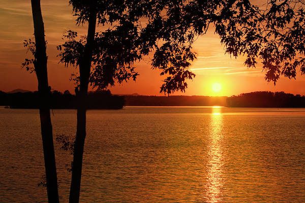 Photograph - Smith Mountain Lake Silhouette Sunset by James Roney