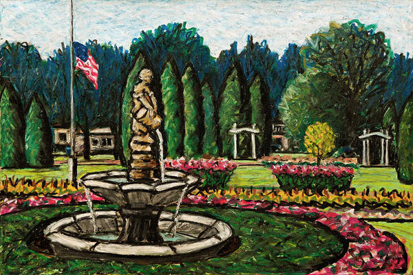 Oil Pastels Drawing - Smith Park Fountain Plein Aire by Bruce Bodden