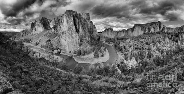 Redmond Photograph - Smith Rock Black And White Panorama by Adam Jewell