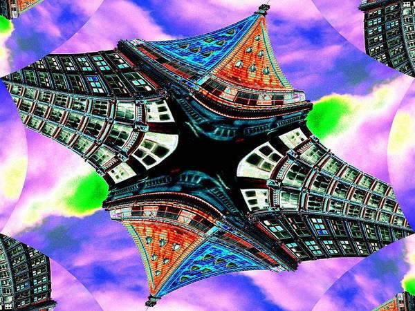 Highrise Digital Art - Smith Tower Fractal by Tim Allen