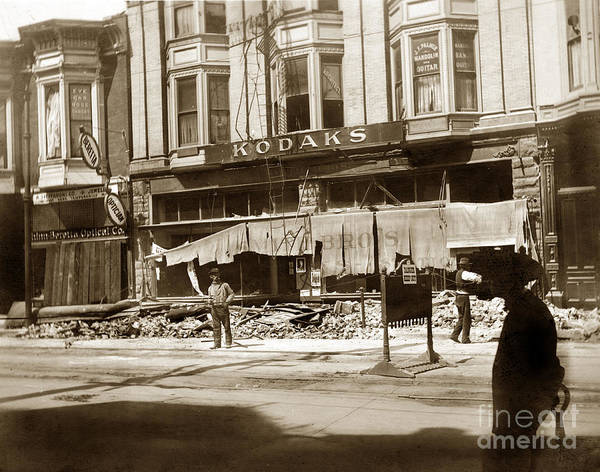 Photograph - Smiths Kodaks 13th Street Oakland April 18, 1906 by California Views Archives Mr Pat Hathaway Archives