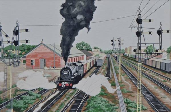 Freight Trains Painting - Smoke And Steam by John Houseman