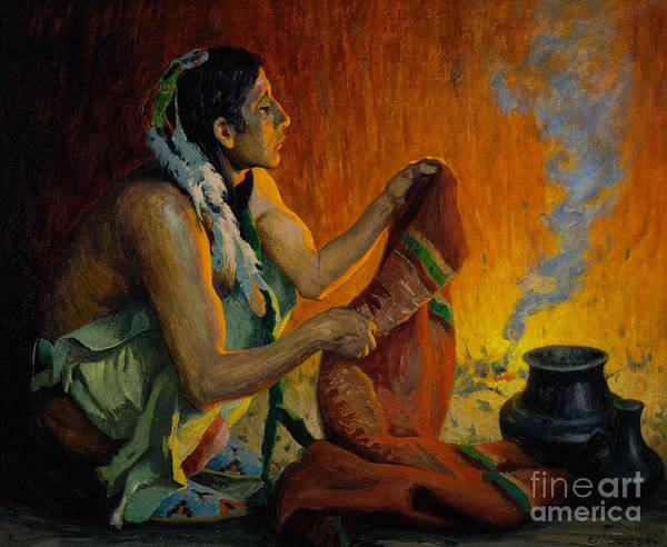 Native American Culture Painting - Smoke Ceremony by Celestial Images