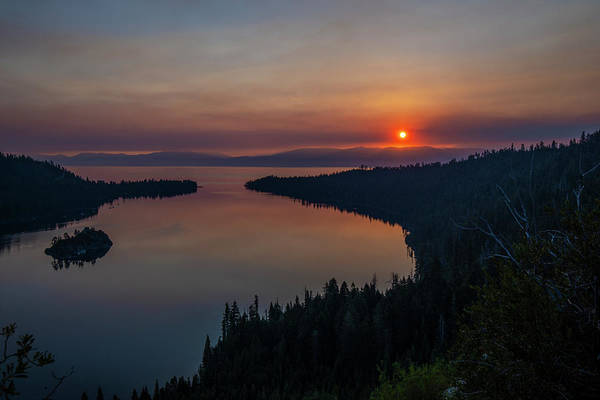 Photograph - Smoke-diffused Sun At Emerald Bay by Jonathan Hansen