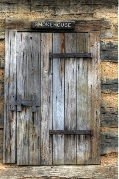 Wall Art - Photograph - Smokehouse Door Wood Antique Rust Bbq by Jane Linders