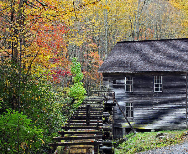 Millrace Wall Art - Photograph - Smokey Mountain Grist Mill by Jennifer Robin