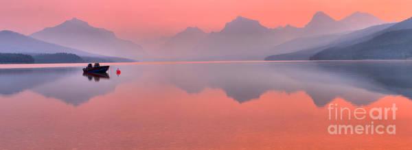 Photograph - Smokey Pink Over Lake Mcdonald by Adam Jewell