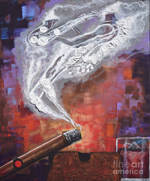 Wall Art - Painting - Smokin Jazz Cigar Silhouette Series by The Art of DionJa'Y