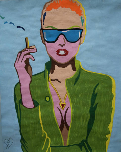 Wall Art - Painting - Smoking Woman Sunglasses  by Stormm Bradshaw