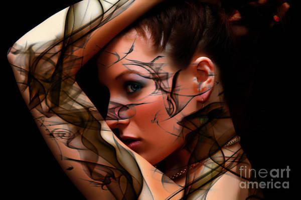 Digital Art - Smoking Glamour Girl by Clayton Bruster