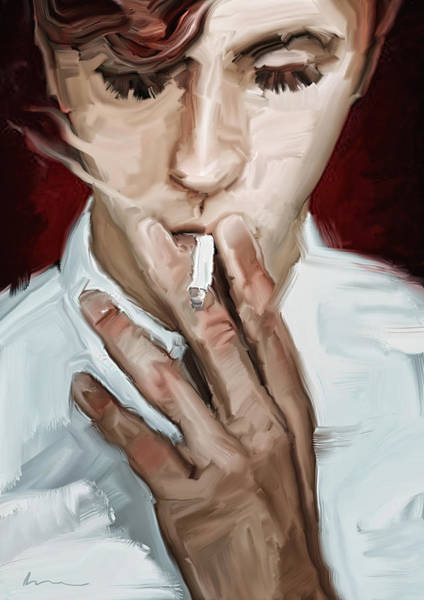 Eyelashes Wall Art - Painting - Smoking by H James Hoff