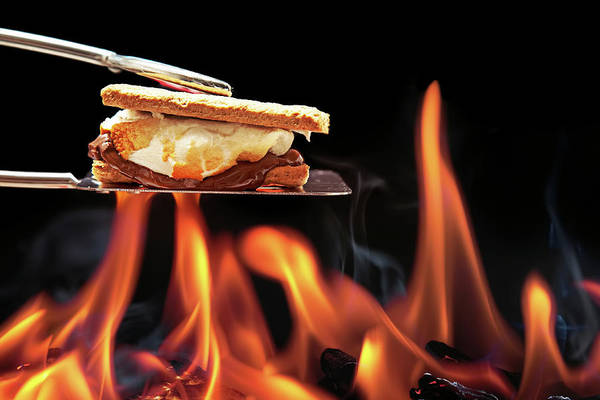 Barbecue Photograph - Smore Cooking Over Campfire by Susan Schmitz