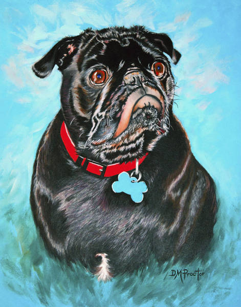 Painting - Smug Black Pug by Donna Proctor