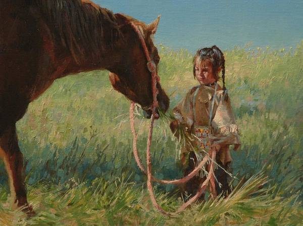 Sioux Wall Art - Painting - Snack Time by Jim Clements